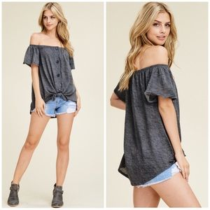 Tops - Gray Off Shoulder Button Knot Top